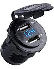 Nosii 4.2A Dual USB 2.1A & 2.1A lader bus waterdicht stopcontact W/LED voltmeter & draad inline 10A zekering voor 12-24 V auto boot marine motorfiets (kleur: Blue Digit)