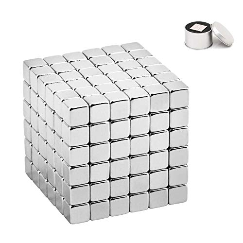 (Xtozon 5MM 216 Pieces Magnetic Sculpture Cube Building Blocks Toys for Intelligence Learning, Magnet Executive Desk Toys and Stress Relief Toys for Adults (Silver))