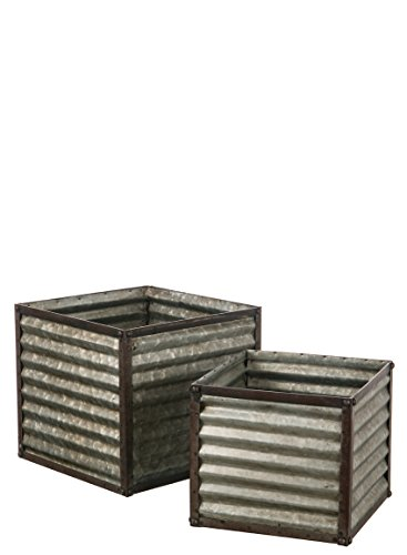 Sullivans Decorative Square Farmhouse Planters Rustic Weathered Ribbed Galvanized Metal Container, 10 to 12 Inches Each, Silver and Brown, 2 -