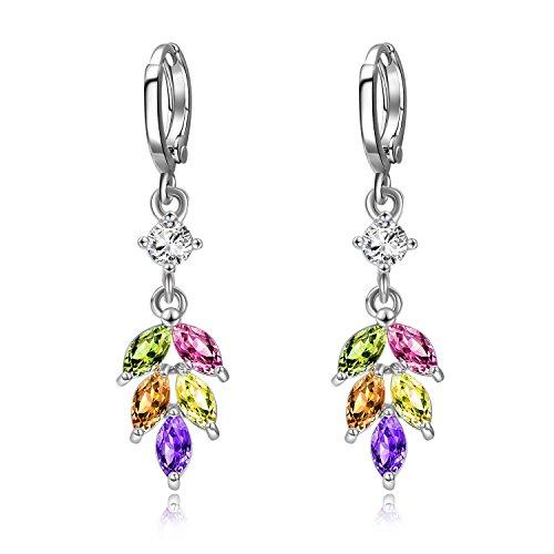 WINNICACA Colorful Leaf Drop Earrings Cubic Zirconia Lever-back Earrings for Women Girls Gifts Jewelry
