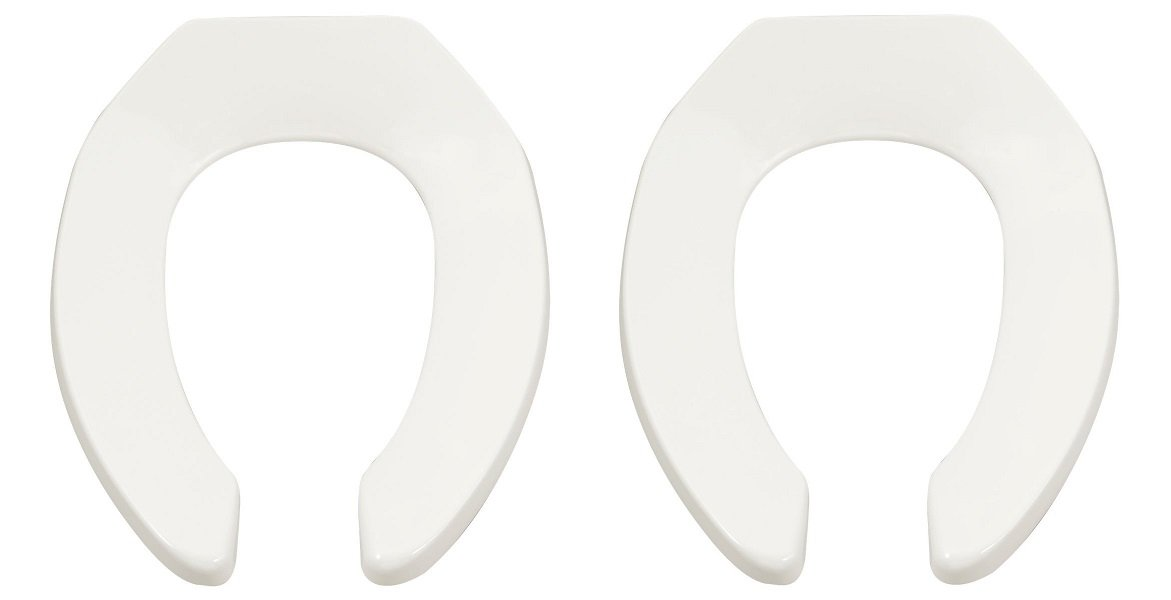 American Standard 5901.100.020 Heavy-Duty Elongated Commercial Toilet Seat, White (2 PACK)