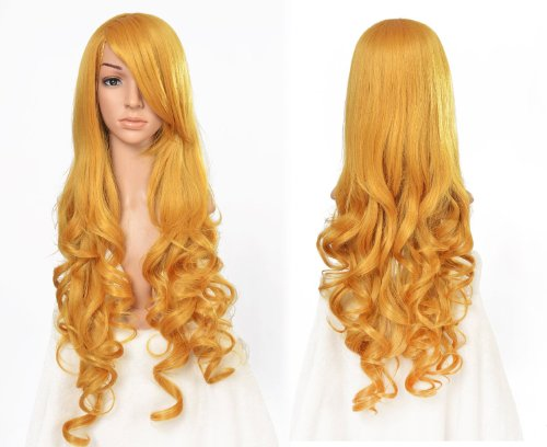 Besgo 80cm Long Heat Resistant Airy Curl Costume Cosplay Wig Long Hair Wig for All Ladies with Wig Cap,gloden Yellow (Long Curl Wig)