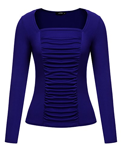 Mixfeer Women's Long Sleeve Square Neck Ruched Mesh-Front Blouse Top Shirt