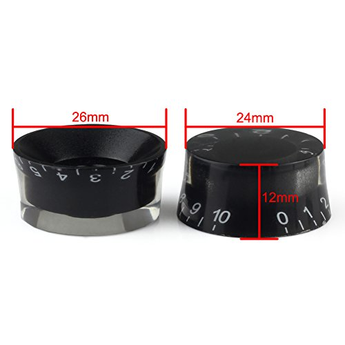 VERY100 Speed Knobs Black Volume Tone Control Buttons Accessories for Guitar Parts (4pcs)