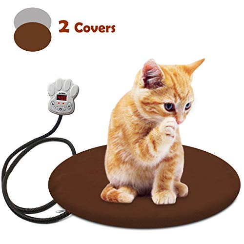 FOCHEA Pet Heating Pad, Waterproof Electric Heating Pad Adjustable Warming Mat with 2 Removable Covers for Dogs Cats (15.7