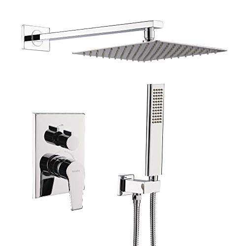 KOJOX 12 Inch Shower System Bathroom Luxury rain shower head with handheld Mixer Shower Combo Set Wall Mounted(Contain Pressure Balance Valve) (Chrome)