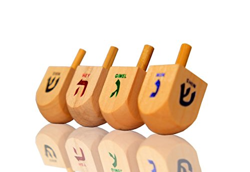 Jerusalem Dreidel Wood Dreidels Medium Sized With English translation Pack of 10