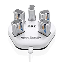 EBL Fast 9V Battery Charger Individual USB Battery Charger with 9V Li ion Rechargeable Batteries 600mAh 5 Pack