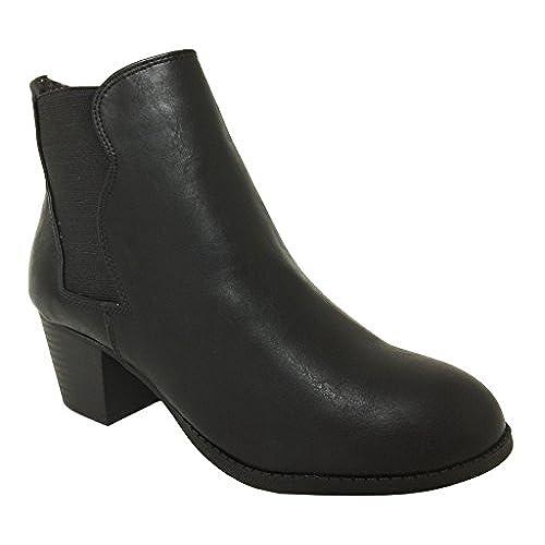 DAIZO! Soda Women's Chelsea Style Elastic Block Heel Pull On Ankle Boots