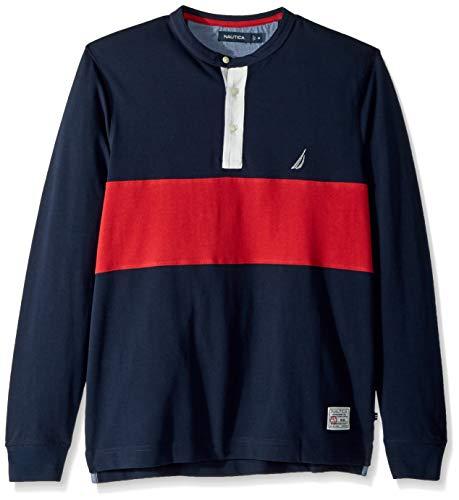 Nautica Men's Long Sleeve 3 Button Henley Shirt, Navy, Large