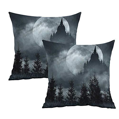 Khaki home Halloween Square Standard Pillowcase Magic Castle Design Square Custom Pillowcase Cushion Cases Pillowcases for Sofa Bedroom Car W 14
