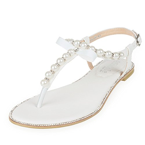 SheSole Women's Rhinestone Gladiator Flat Wedding Sandals White US 11