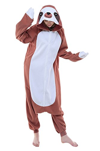 NEWCOSPLAY Unisex Aduit Sloth Pajamas- Plush One Piece Cosplay Animal Halloween Costume (M, Coffee Sloth)]()