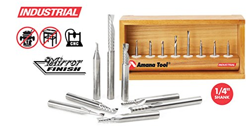 Amana Tool AMS-160 8-Pc CNC Aluminum Cutting Solid Carbide Spiral 'O' Flute 1/4 Inch SHK Router Bit Collection