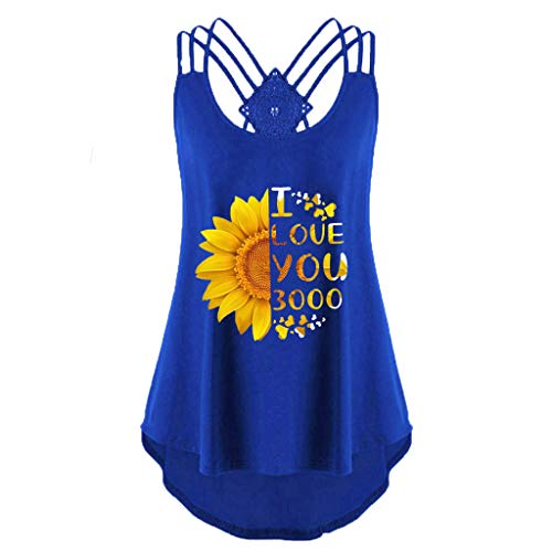 Women's Summer Sleeveless Criss Cross Casual Basic Lace up Blouse Sunflower Letter Pleated Camisole Sexy Tank Tops Blue