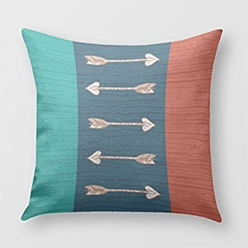 Orange, Teal And Blue Arrow Pillow Cover For Sofa Or Bedroom