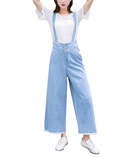 Quge Mujer Monos Largos Pantalon Vaqueros Elásticos Cintura Alta Pantalones Zarco