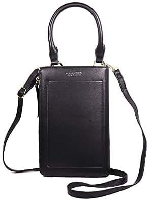 Worldlyda Roomy Pockets Small Crossbody Bag Cell Phone Purse Handbag Travel Passport Wallet for Women Black Size: Large