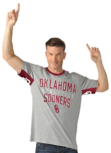 NCAA Oklahoma Sooners Men's Cut Back Short Sleeve Fashion Top, Large, Heather - Fashion Sooner