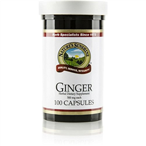 Ginger 100 Capsules (Naturessunshine Ginger Digestive System Support Herbal Dietary Supplement 500 mg 100 Capsules (Pack of 2))