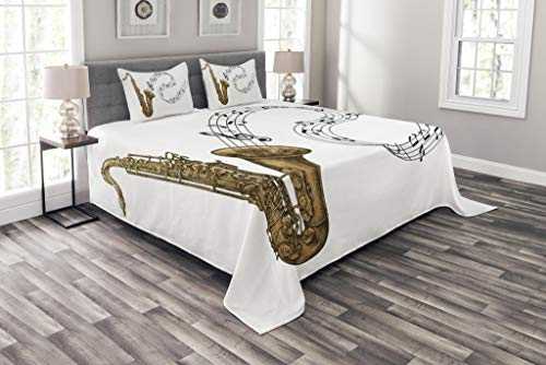 - Lunarable Saxophone Bedspread Set Queen Size, Jazz Blues Concert Band Rock and Roll Clarinet Pop Punk Retro Artful Tempo, Decorative Quilted 3 Piece Coverlet Set with 2 Pillow Shams, Pale Brown Black