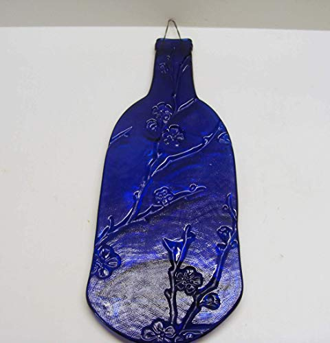 Cobalt Blue Cherry Blossom Pattern Embossed Wine Bottle UpCycled as Cheese Platter Serving Tray