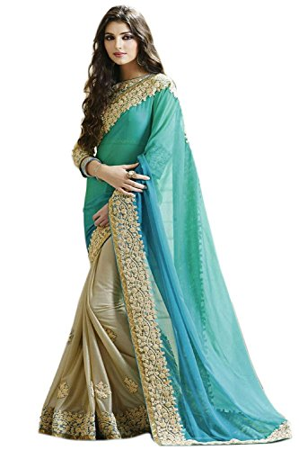Sea Green Georgette Top (Kenil Fabrics Women's Georgette Saree Free Size Sea_Green And Off_White)
