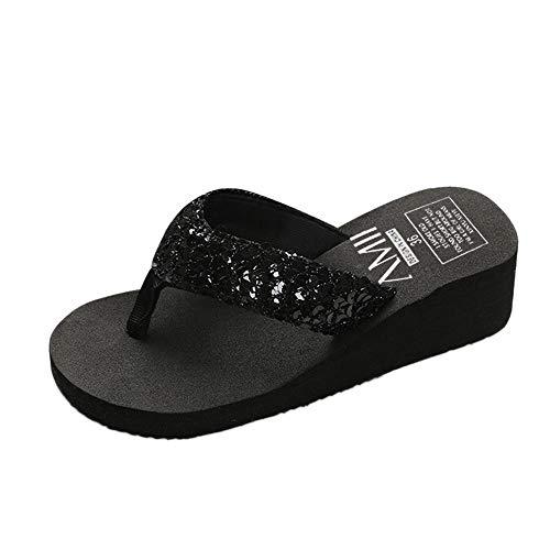 MILIMIEYIK Slide Sandals Women Jelly, Women's Wedges Platform - Summer Open Toe Ankle High Heel Pump Party Bath Slippers Black ()
