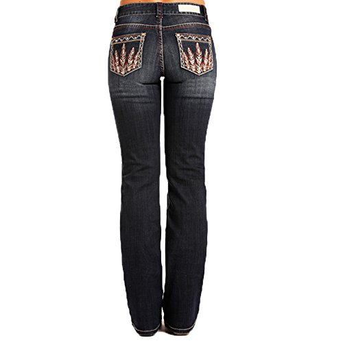 Embellished Feather - Rock & Roll Cowgirl Embellished Feather Mid Rise Jeans, 31W x 32L