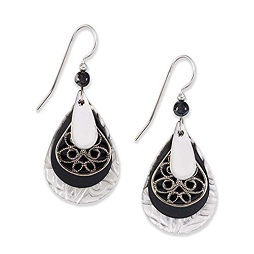 72ad60d40 Silver Forest Surgical Steel Layered Teardrop Filigree Earrings E-8061