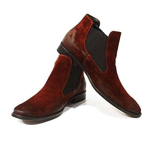 Modello Levi – 9 US – Handmade Italian Mens Burgundy Ankle Chelsea Boots – Cowhide Suede – Slip-On
