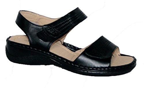Annabelle Plus - Sandalias de verano para mujer, ajuste cómodo, doble tira con velcro negro PU