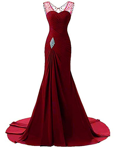 (Vweil Women's Illusion Neckline Mermaid Evening Prom Dress Chiffon Bridesmaid Dress 16 )