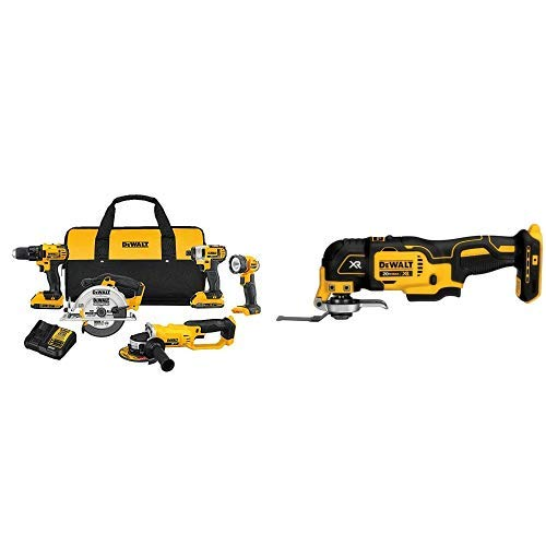 DEWALT DCK521D2 20V MAX Compact 5-Tool Combo Kit with DCS355B 20V XR Oscillating Multi-Tool (Tool Only)