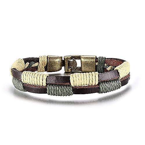909919ad3b2f MG joyas Tribal cuero trenzado cuerda de línea doble Vintage pulsera  pulseras para hombres mujeres Outlet