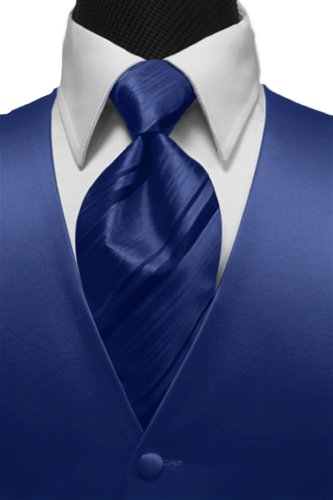 Cardi Men's Solid Satin Tuxedo Vest & Windsor Band Striped Tie, XXXX-Large,Royal - Cardi Solid Satin