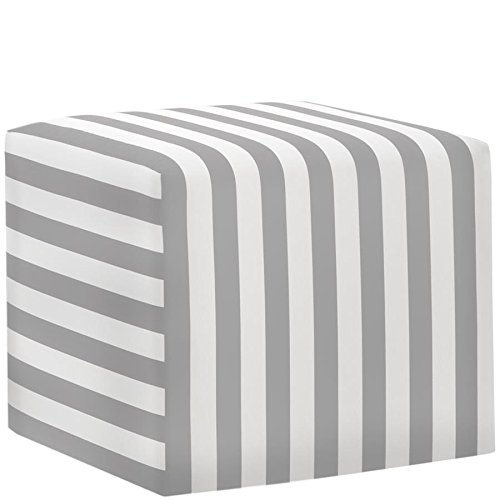 Skyline Furniture Cube Ottoman in Canopy Stripe Storm Twill Review