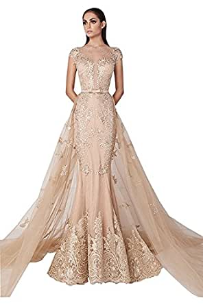 Banfvting Champagne Overskirts Dress Evening Wear Mermaid Cap Sleeves Party Gown