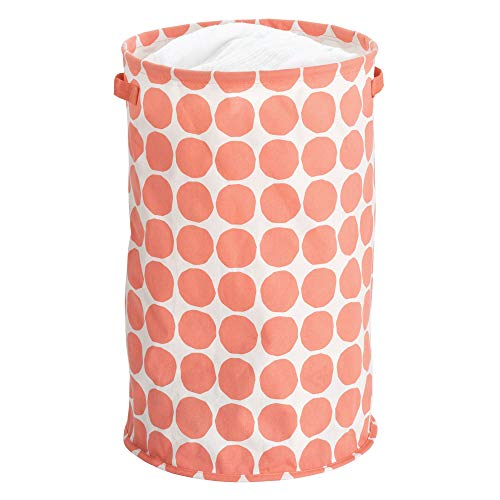 InterDesign Dot Fabric Round Storage Bin, Basket Container Mini Hamper with Dual Side Handles for Closet, Bedroom, Laundry, Clothing, Toys, Nursery - ()