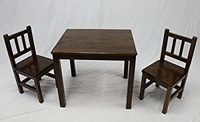 eHemco Kids Table and 2 Chairs Set-Solid Hard Wood
