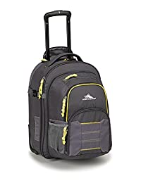 High Sierra Ultimate Access Wheeled Backpack with Removable Daypack, Mercury/Charcoal/Yellow, International Carry-On
