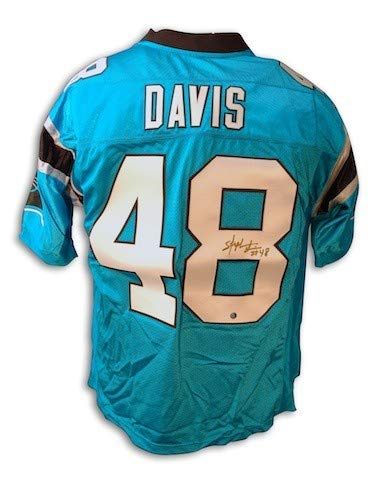 (Autographed Stephen Davis Panthers NFL Reebok Carolina blue Jersey - Certified Authentic Signature)
