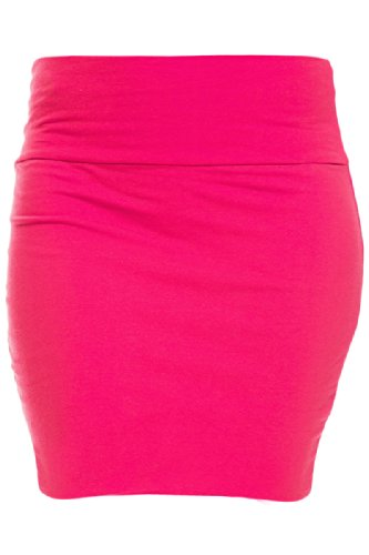 Hot Skirt Mini - KMystic Basic Mini Skirt with Wide Waist Band (Large, Hot Pink)
