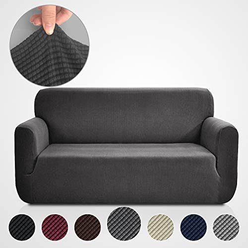 (Rose Home Fashion RHF Jacquard-Stretch Sofa Cover, Slipcover for Leather Couch-Polyester Spandex Sofa Slipcover&Couch Cover for Dogs, 1-Piece Sofa Protector(Sofa: Dark Gray))
