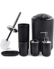 CERBIOR Bathroom Accessories Set 6 Piece Bath Ensemble Includes Soap Dispenser, Toothbrush Holder, Toothbrush Cup, Soap Dish for Decorative Countertop and Housewarming Gift, Matte Black