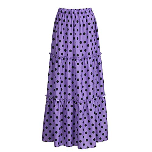 VEZAD Women Fashion High Waist Polka Dot Printed Skirt Loose Ruffled Pleated Skirt