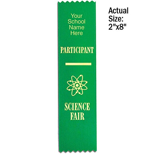 (Set of 100 Personalized Science Fair Participant Ribbons - Flat)