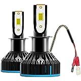 VoRock8 COB H3 6400LM LED Fog Driving Light, H3 Halogen Fog Bulb Replacement, 6500K Xenon White, 1 Pair- 1 Year Warranty