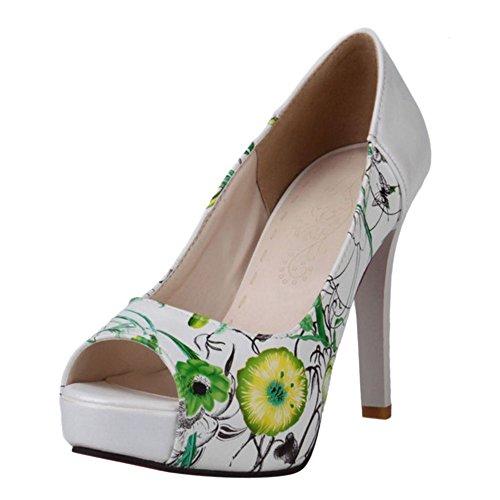 Aiguille Bout Chaussures Hauts Ouvert Talons Platforme Talons Talons Escarpins TAOFFEN Hauts Green Femmes à nxfB8wq