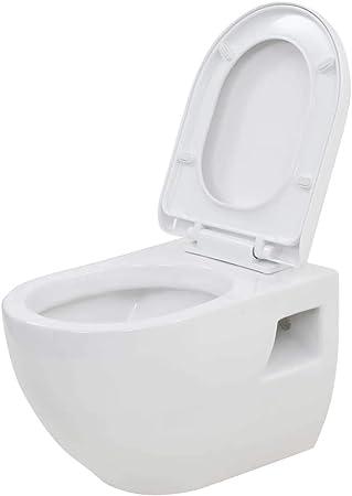 vidaXL Inodoro de Montaje en Pared de Cerámica Blanco Baño Casa Hogar Aseo WC: Amazon.es: Hogar